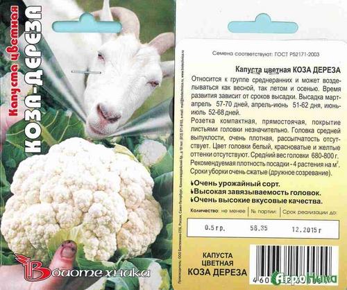 Цветная капуста Коза-Дереза - описание